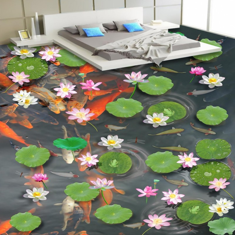 Free Shipping Realistic large pond carp floor 3D wear non-slip thickened kitchen living room bathroom flooring wallpaper mural free shipping realistic large pond carp floor 3d wear non slip thickened kitchen living room bathroom flooring wallpaper mural