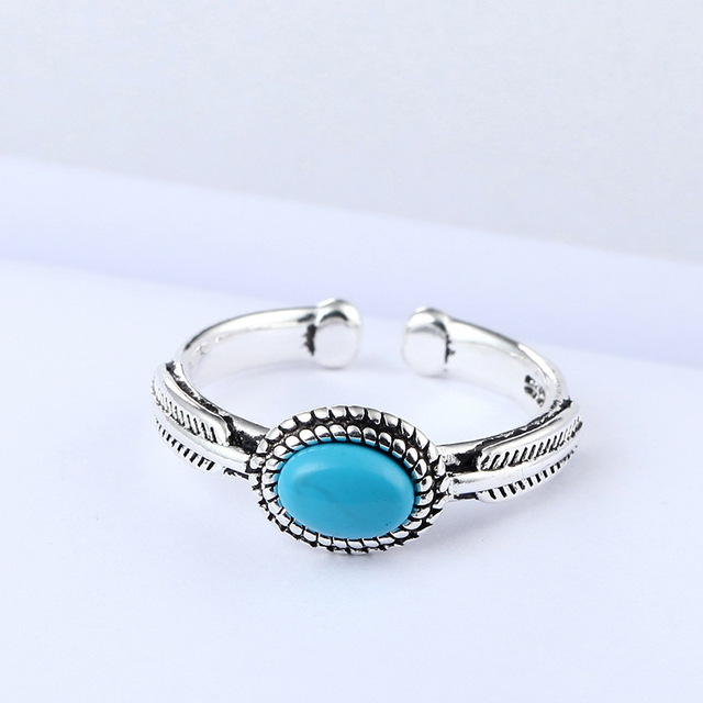 DreamySky Real 925 Sterling Silver Blue Rings For Women Open Size Wedding Ring Beautiful Jewelry Drop Shipping