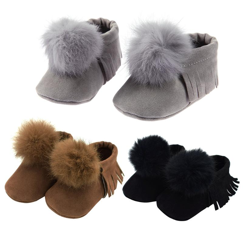 Winter Baby Shoes First Walker Infant Toddler Cute Ball Tassel Shoes Newborn Boy Girl Soft Sole Non Slip Boots Baby Moccasins