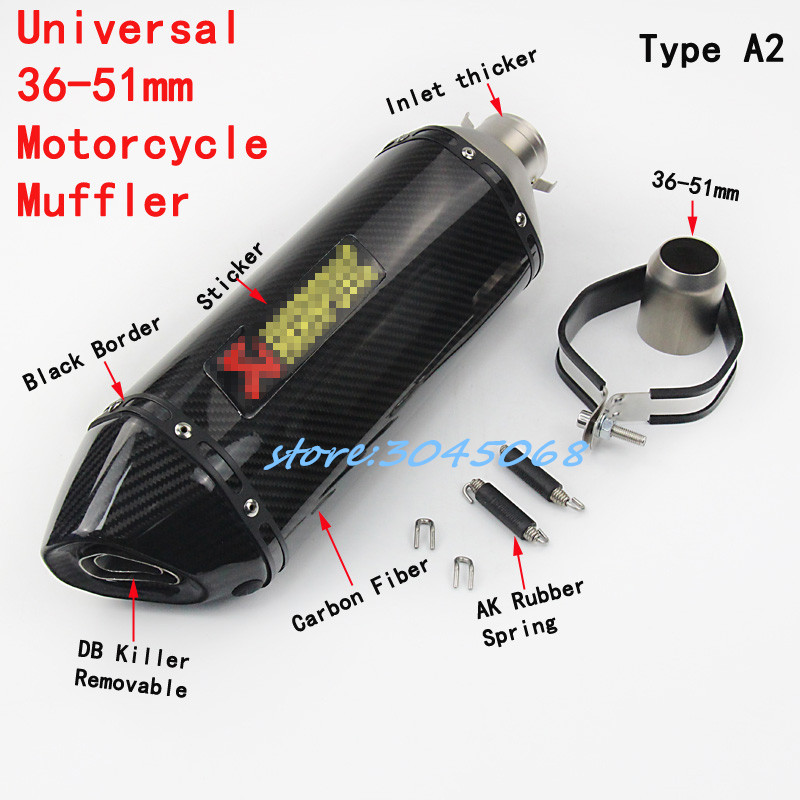 460mm Universal 51mm Motorcycle Exhaust Escape Carbon Fiber Motorbike Muffler With Sticker DB Killer For SUZUKI GSX750R R6 CB400 id 51mm universal motorcycle exhaust muffler pipe escape real carbon fiber titanium with moveable db killer txk110