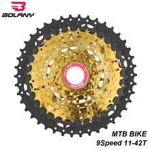 BOLANY MTB Bike Cassete 9 Speed 11-42T Bicycle Freewheel Black gold Mountain Cassette Sprocket Parts For Shimano Sram