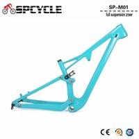 Spcycle 29er Full Suspension Bicycle Frame T1000 Full Carbon MTB Mountain Bike Suspension Frame 142*12 Thru Axle 165*38mm Travel