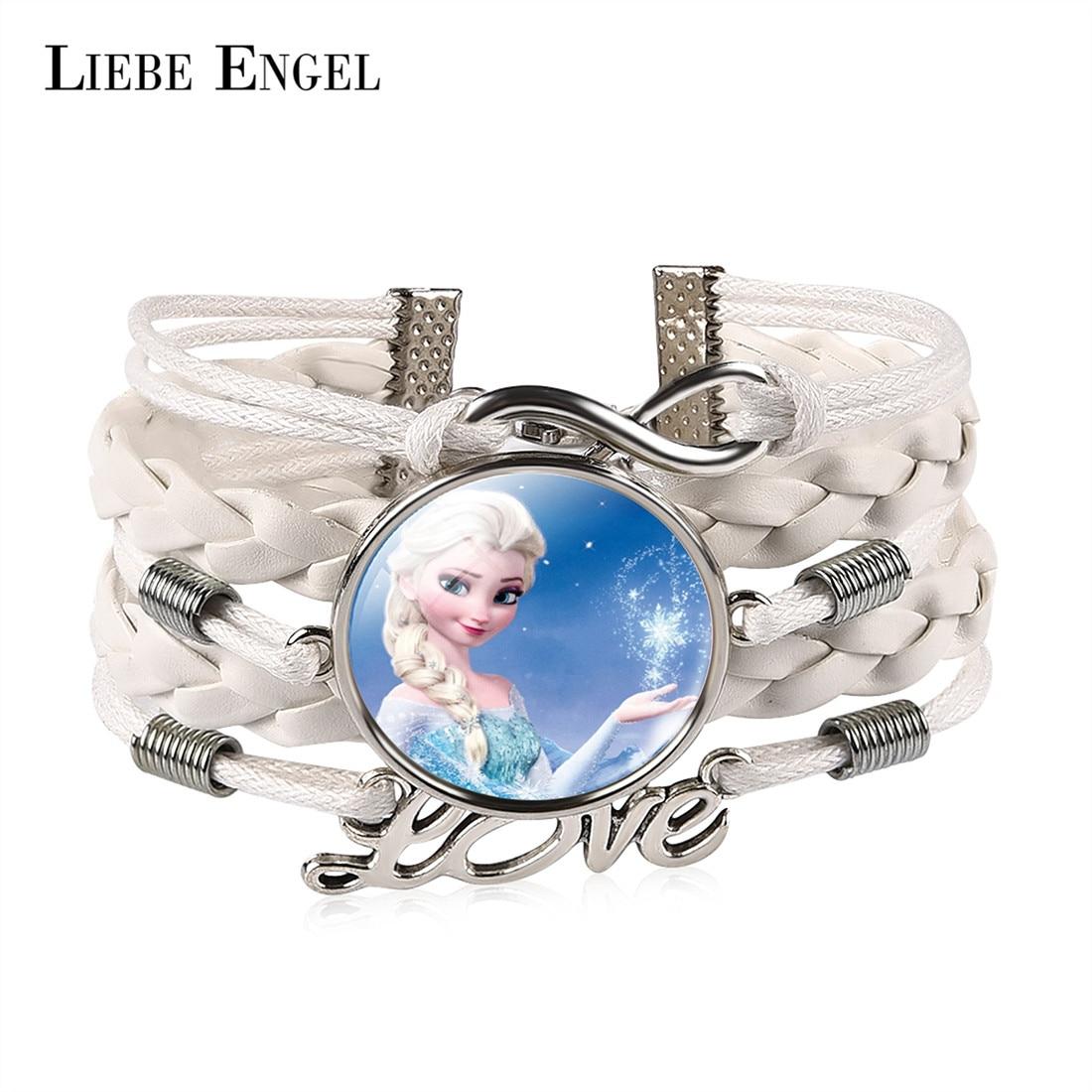 LIEBE ENGEL Charm Jewelry White Leather Bracelet Anime Elsa Anna Princess Pattern Glass Infinity Love Bangle For Women Gift