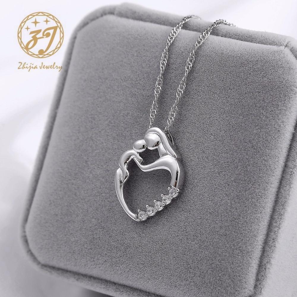 Nueva llegada regalos de moda plata mosaico collar de circón madre y - Bisutería - foto 6