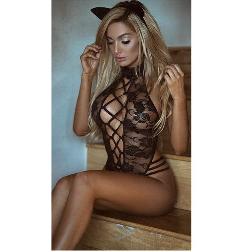 Plus Size 3XL Sexy Lingerie Costume Hot Black Transparent Women Sexy Lace Open Bra Sexy Teddy Lingerie Cosplay Cat Uniform M1006