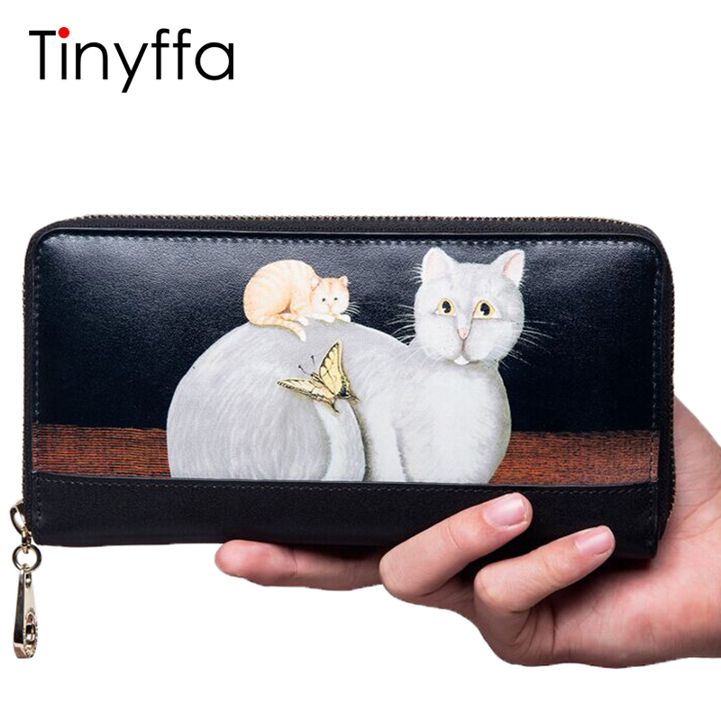 Tinyffa Women Genuine Leather Wallet High Quality Famous Brands Long Purses Fashion Cat Ladies Wallets Clutch Bag Coin Pocket
