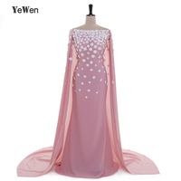 Flowers Elegant Deep Pink Evening Dresses Long With Cap Off Shoulder YeWen Chiffon Party Dress 2017