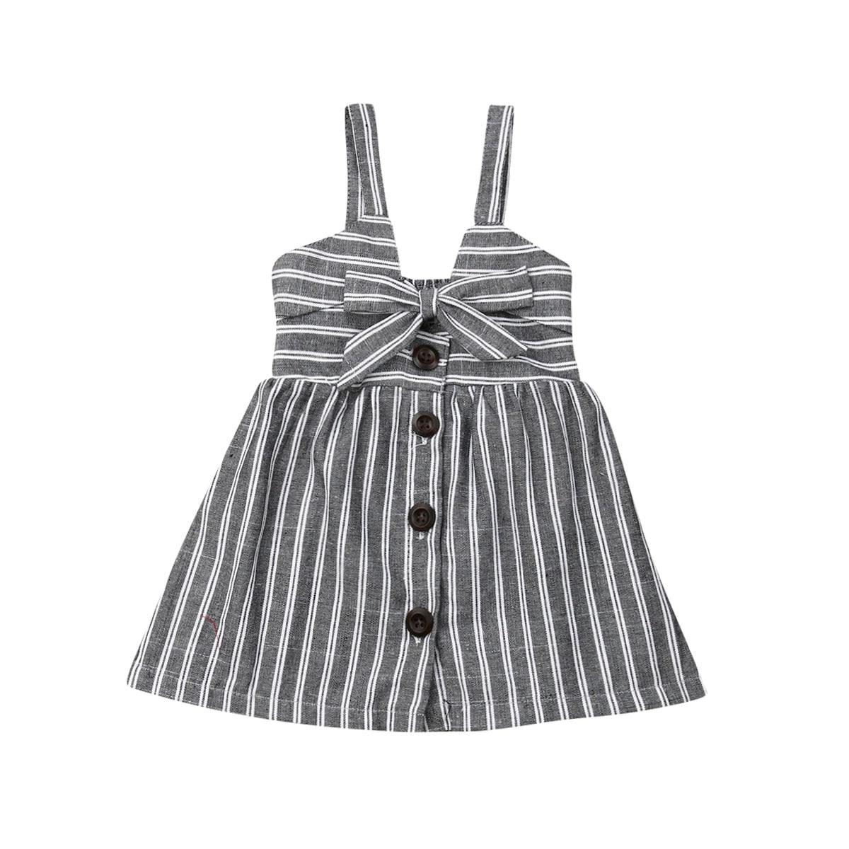 f7d1cda429323 Enfant en bas âge enfants bébé filles vacances robe sans manches rayé noeud  bouton a-