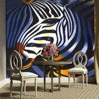 Groothandel 3d zebra zwart-wit streep muurschilderingen muursticker voor woonkamer 3d foto muurschildering TV sofa achtergrond muurschildering behang