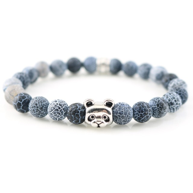 New Hot Silver Plated Panda Charm Bracelets Bangles Stones Beads For Men Women Fashion