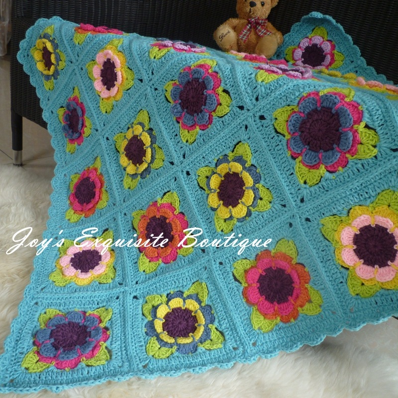 Sale Crochet Kids Blanket Knitted Cotton Rose Blanket Portable Car