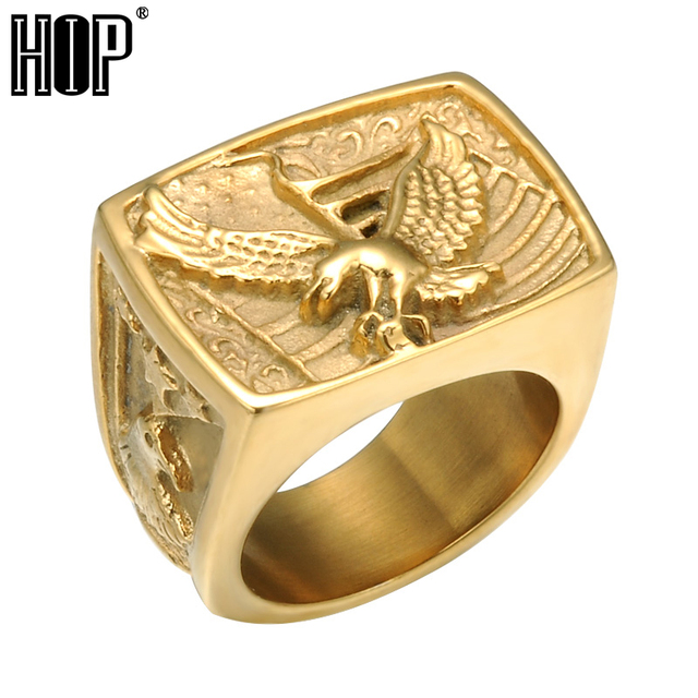 HIP Punk Biker Hawk Ring Mens Gold Silver Color Titanium Stainless Steel Eagle R