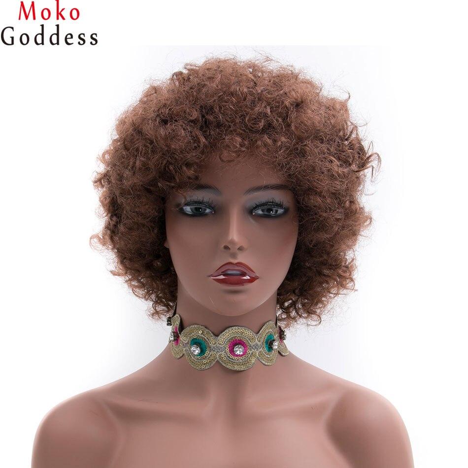 MoKoGoddess Kort blond peruk Syntetisk Kinky Curly Frisyrparykar för - Syntetiskt hår