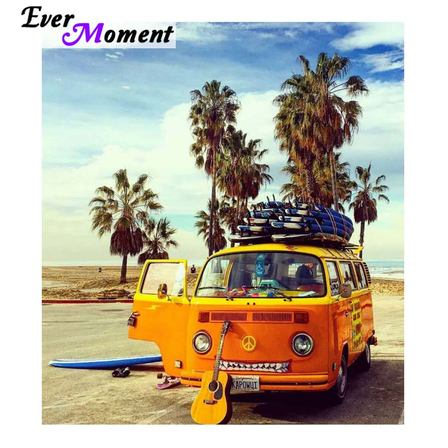 Ever Moment Diamond Painting Cross Stitch Bus Beach Sunshine Music Relax Time Diamond Embroidery Wall Painting Full Craft ASF960