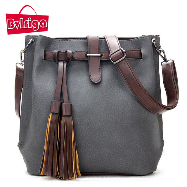 BVLRIGA Women messenger bags famous designer brand bags women leather handbags fashion tassel shoulder bag bucket travel bag