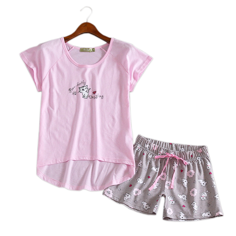 Cute pink cats short   pajama     sets   women sleepwear casual short sleeves 100% cotton women kawaii pyjamas women homewear indoorwear