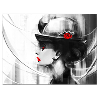 Fashion Canvas Art Black And White Sexy Woman Red Lip Flower Hat Poster Prints On Canvas Hotel Living Room Decorations 24x32