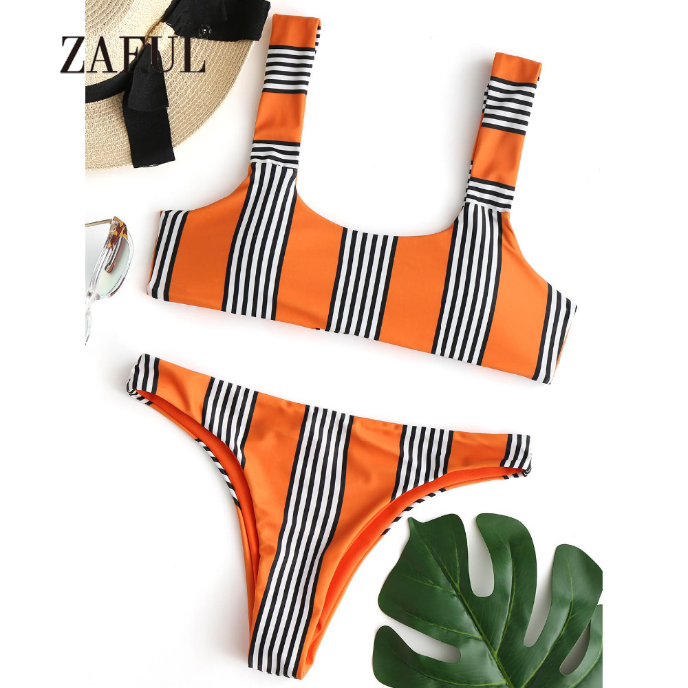 ZAFUL Striped Bikini Knot Women Swimsuit Padded Swimwear Sexy Scoop Neck Sexy Thong Bottom Brazilian Biquni Beach Bathing Suit scoop neck striped stretchy dress