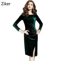 New Fashion Winter Velvet Dresses Women Long Sleeve O Neck Split Slim Knee Length Work Dress