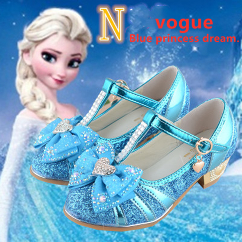 Fashion Children Elsa Princess Sandals Kids Girls Wedding Shoes High Heels Dress Shoes Bowtie Gold Shoes For Girls White Pink