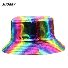 SUOGRY New Fashion Summer Hip Hop Cap Women Men Silver Color Shiny Metallic Laser Leather Panama Fisherman Hat  Bucket Hats