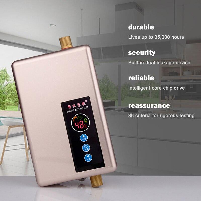 Calentador de agua Kbxstart, grifo de baño, Calentador de agua inteligente instantáneo, Calentador de agua eléctrico 5500W - 2