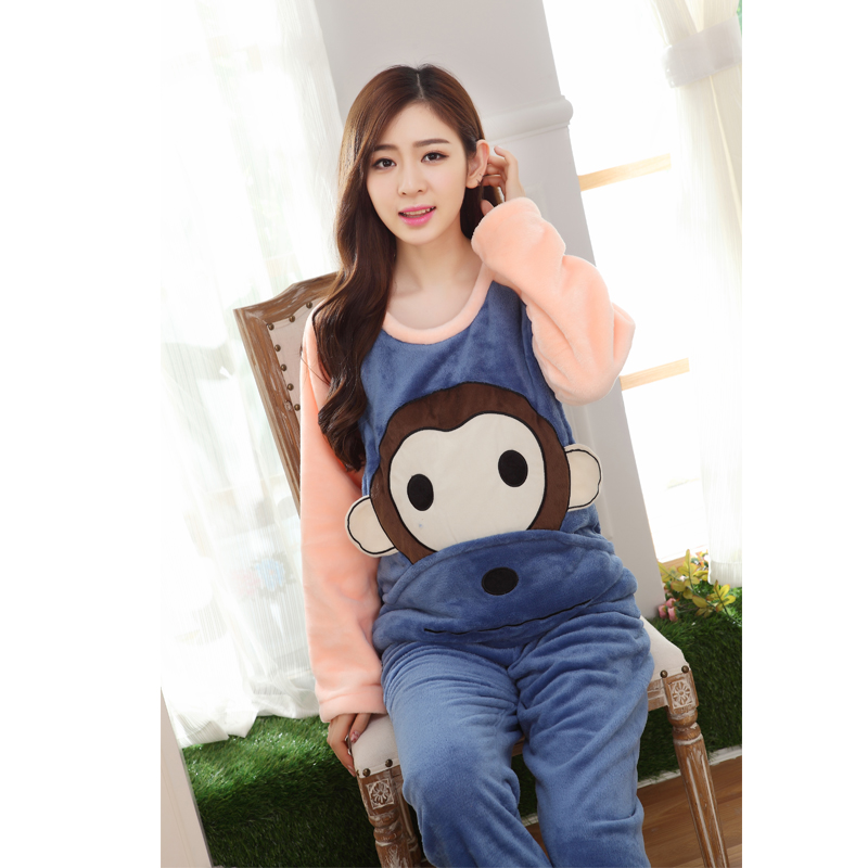 Winter Lovely Cartoon Monkey Thick Flannel Maternity Pajamas Warm Nursing Nightwear Pregnancy Clothing Sets HOT SALE