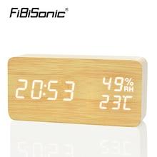 Fibisonic Деревянный LED Будильник, despertador Температура влажность электронные Desktop Цифровой настольный Часы