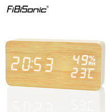 FiBiSonic Wood Wooden LED Alarm Clock,Despertador Temperature Humidity Electronic Desktop Digital Table Clocks