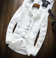 Automne Blanc loisirs chemise avec chemise à manches longues en cachemire épaississement tendance de chemise beau hommes chandail YSMILE Y Longue #56