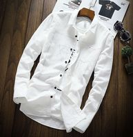 Autumn White Leisure Shirt With Long Sleeved Shirt Cashmere Thickening Trend Of Shirt Handsome Men Sweater