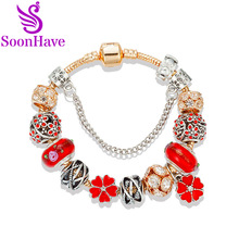 SoonHave Red Crystal Silver Rose Gold Beads Charm Bracelets Women Original DIY Beads Jewelry Pulseras European Style Wholesale