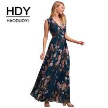 HDY Haoduoyi Women Casual Floral Print Sleeveless Maxi Dress Vintage Sexy V Neck Wrap Tie Waist Kimono Party Dress On Beach цена в Москве и Питере