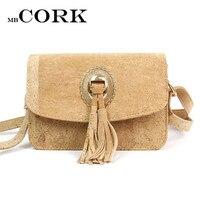 Natural Cork Leather Crossbody Handmade Lady Bag Tassels Women Original Small Vegan Bag High Quality European