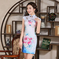 New Arrival Short Sleeve Chinese Traditional Dress Stand Collar Female Qipao Chinese Ancient Women Cheongsam Dress for Party 18