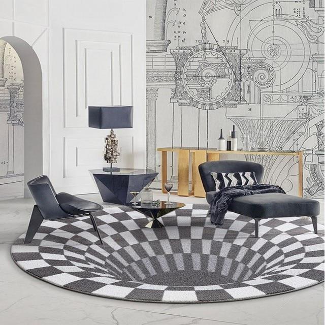 Post Moderne 3d Motif Tisse Gris Tapis Grande Taille Ronde En Forme Art Salon Decoration De La Maison Chevet Tapis Sol