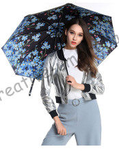 3pcs get 1pc free Fiberglass windproof 5 times black coating anti-UV parasol pocket folding forget me not flowers print umbrella santoro london закладка магнитная forget me not all these words