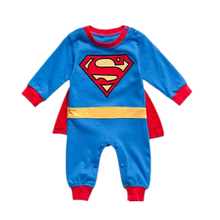 купить Baby clothes super man cosplay style 100% cotton romper newborn jumpsuit clothing summer baby boy and girl superman romper по цене 824.29 рублей