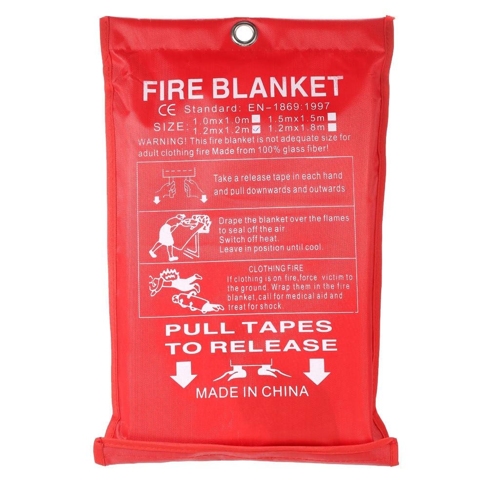 1PCS 1M X 1M Fire Blanket Fiberglass Retardant Fire Flame Emergency Survival Fire Shelter Safety Cover Fire Emergency Blanket