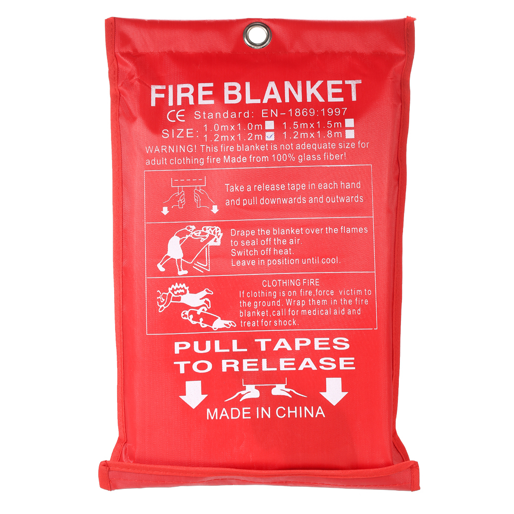 1PCS 1M x Fire Blanket Fiberglass Retardant Flame Emergency Survival Shelter Safety Cover