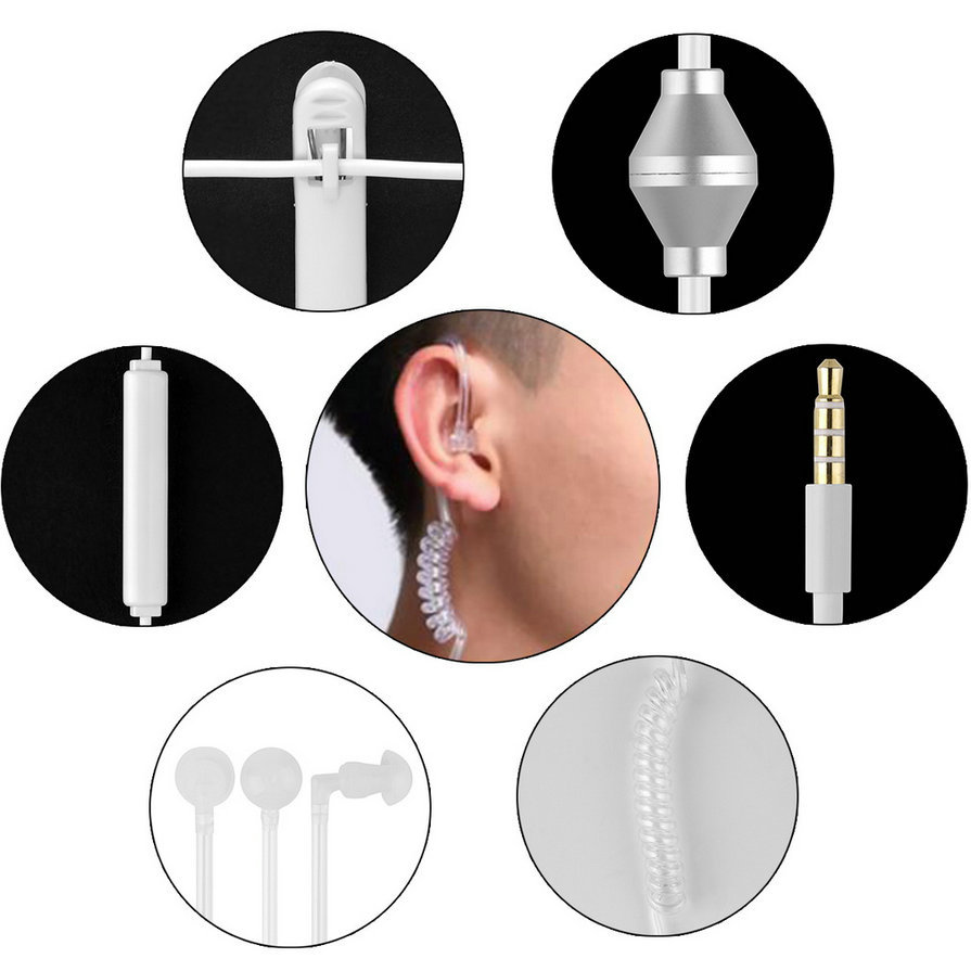 3.5mm In Ear Anti Radiation Earphone Air Tube Stereo Monaural with Microphone for Xiaomi iPhone Samsung MP3