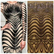 La Belleza 1 yard Gold/Black/white sequins on off-white netting embroiedered show/evening/wedding/stage ladies dress fabric