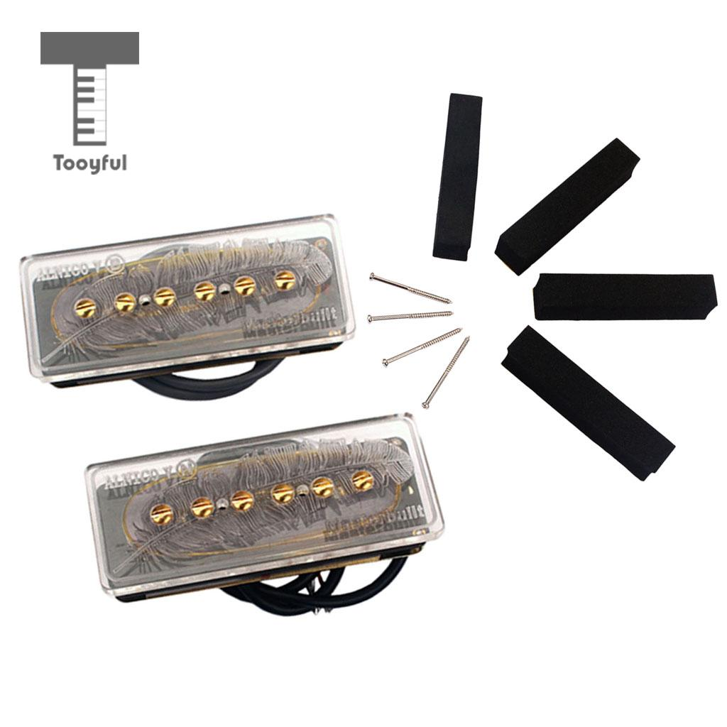 Tooyful P90 Alnico V Soap Bar Pickups Humbucker Bridge Neck Set for Electric Guitar 2pcs chrome double coil humbucker pickups neck