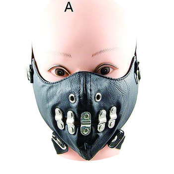10pcs Black Punk Masks PU Leather Rivet Cool Mask Cobweb  Beard Smile Styles Masquerade Masks