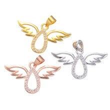 Rose banhado a ouro asas de anjo bonito pendant chamrs para colar mulheres micro pave zircon moda jóias acessório chf298