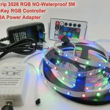 5 м 3528 RGB 300 светодиодный элемент с поверхностным монтажом гибкое освещение полосы+ 24Key ИК контроллер красный зеленый синий желтый теплый белый+ 12 В 2A 24 Вт адаптер питания