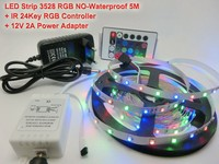 5M 3528 RGB 300 Led SMD Flexible Light Strip 44Key IR Controller Red Green Blue Yellow
