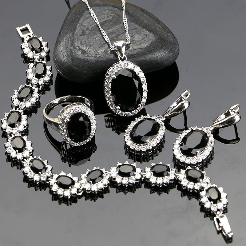 2019 Neuestes Design Schwarz Zirkonia Schmuck 925 Sterling Silber Schmuck Sets Schmuck-set Für Frauen Ohrringe/anhänger/halskette/ring/armband Offensichtlicher Effekt