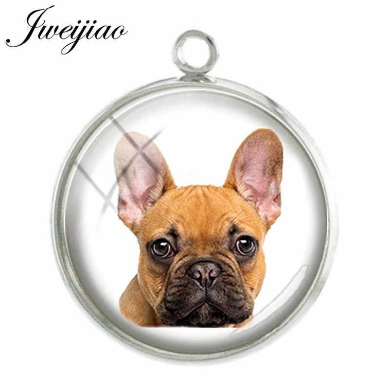 JWEIJIAO น่ารักสัตว์เลี้ยงสุนัขฝรั่งเศส bulldog Collie Pug จี้ Charms 20 มม.ภาพสัตว์โดมสำหรับสร้อยคอ Keyring Charm DG25