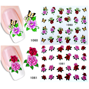 Image 5 - Full Beauty 40pcs Nail Sticker Flower Butterfly Rose Water Transfer Decals For Nail Art Sliders Set Foils Decoration CH1051 1100